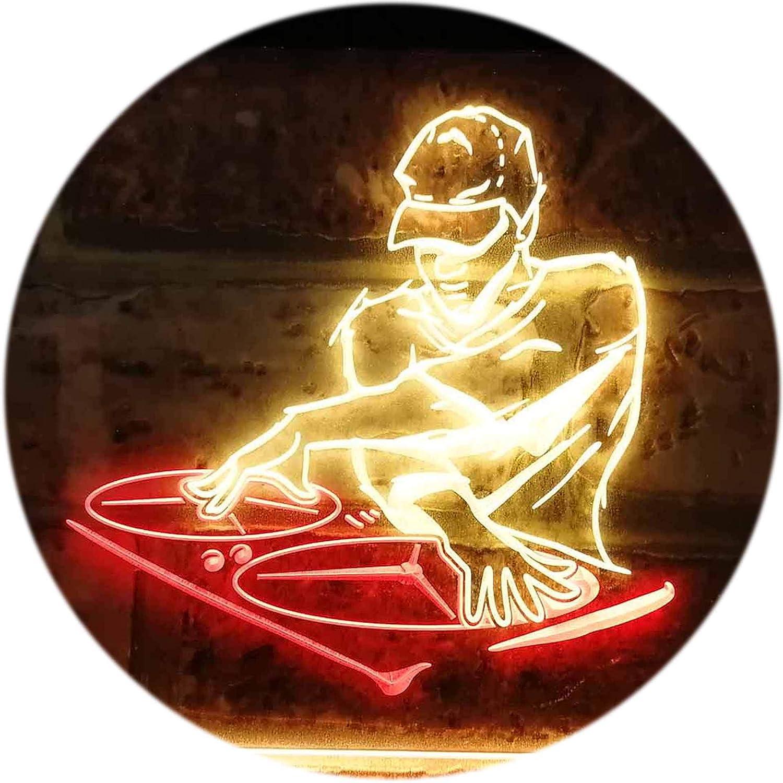 ADVPRO DJ Disc Jockey Disco Music Bar Beer Dual Farbe LED Barlicht Neonlicht Lichtwerbung Neon Sign rot & Gelb 400mm x 300mm st6s43-i0817-ry