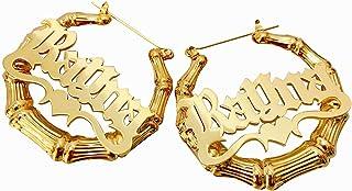 Orecchini con nome personalizzato con cerchio di bambù Orecchini con nome inciso Orecchini con nome Eardrop per donna