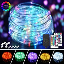 200 LED Rope Lights Outdoor String Lights Plug in, 66ft 16 Colors Changing Waterproof Fairy Lights with Remote Control Timer Rope Lighting for Garden Patio Wedding Party Christmas Outdoor Decorations