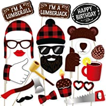 Lumberjack photo booth props by PartyGraphix. Perfect for Lumberjack Party Photo Booth. Plaid Party theme. 34 Quality Pieces