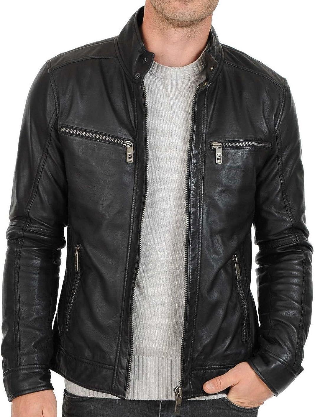 MARIYAM Leather Store Mens Jacket Black Slim Biker Beauty products Motorcy Fit