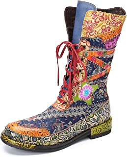 gracosy damstövlar läder mitten av vaden platta stövlar snörning skor päls fodrad varma stövlar bohemiska handgjorda blomm...