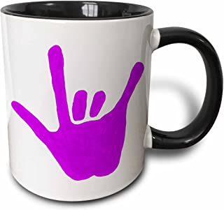 3dRose Love Hand Sign Language In Purple - Two Tone Black Mug, 11 oz, Multicolored