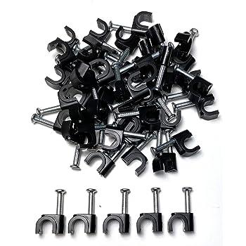 100 x clips de câble Blanc Rond 5mm