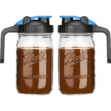 Bedoo 32 OZ Mason Jar Pitcher Wide Mouth 32 oz Mason Jar Pitcher with Airtight Lid - 1 Quart Pitcher for Iced Tea, Sun Tea, Juice, Coffee, Set of 2