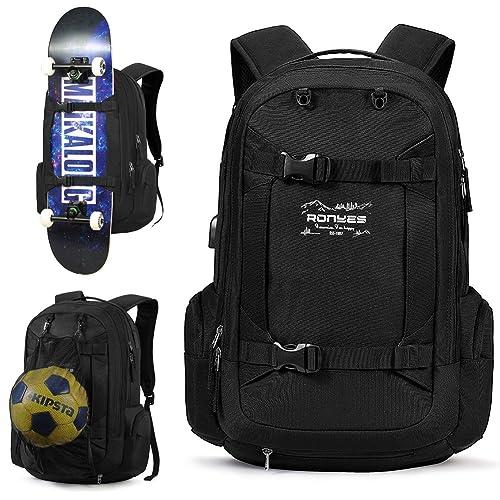 12f8ccc9c740 Skateboard Backpack Basketball Baseball Football Soccer Ball Multi-function Backpack  With USB Port Basketball Net