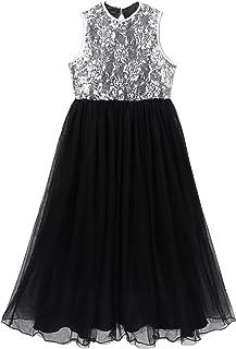 Nimiya Kids Girls Flower Lace Sequin Bodice Sleeveless Tutu Wedding Pageant Party Dress