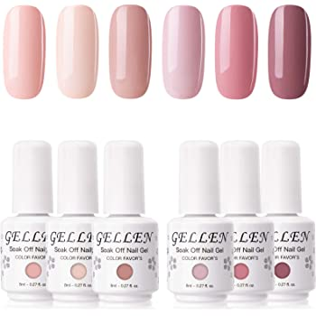 Gellen Gel Nail Polish Set - Pinks and Nudes Pastel 6 Colors, Gel Polish Shade Natural Warm Tone - Popular Nail Art Design Home Gel Manicure Kit