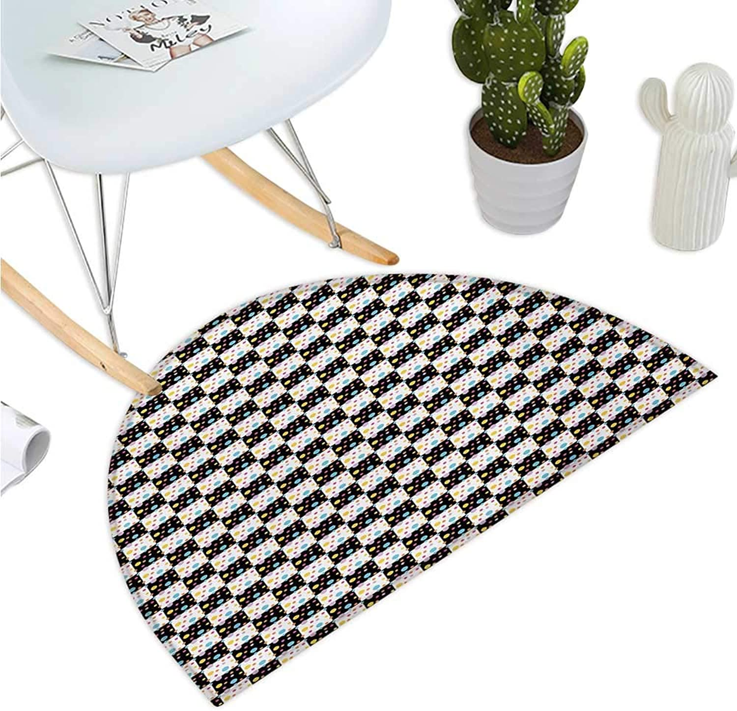 colorful Half Round Door mats Black and White Checkered Pattern with Lively colord Dots Modern Geometric Tile Bathroom Mat H 51.1  xD 76.7  Multicolor