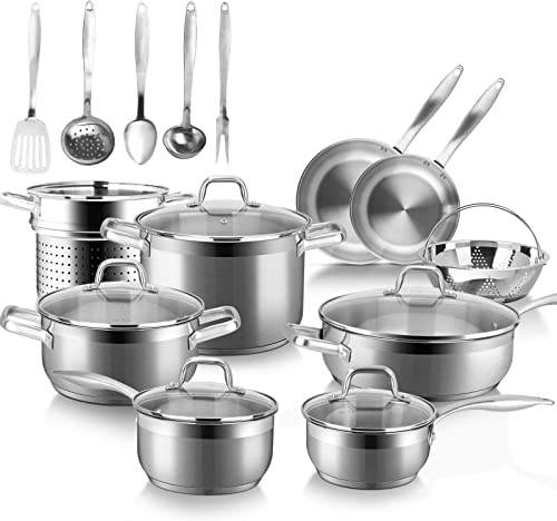 discount Duxtop Professional Stainless Steel Induction Cookware Set, 19PC lowest Kitchen Pots and Pans Set, Heavy lowest Bottom with Impact-bonded Technology sale