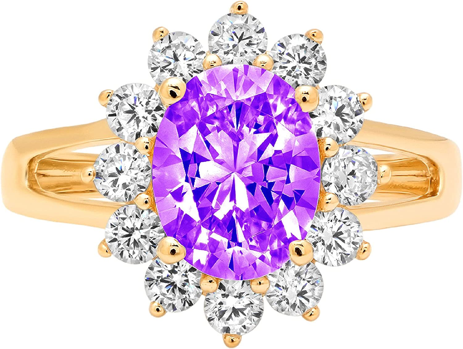 Clara Pucci 2.46 Brilliant Oval Cut Solitaire Accent Halo Stunning Genuine Flawless Natural Purple Amethyst Gem Designer Modern Ring Solid 18K Yellow Gold