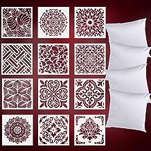 Mandala Stencils for Painting(12X12 12Pcs) Reusable Floor Wall Tile Fabric Furniture Wood Burning Art Craft Supplies Manda...