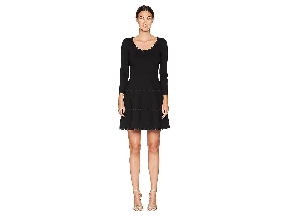 Kate Spade New York Broome Street Scallop Ponte Dress (Black) Women