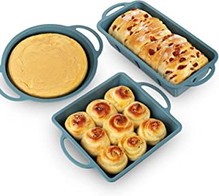 Silicone Bakeware Set of 3, Square Brownie Pan Bread Loaf Pan Round Cake Pan, Silicone Baking Pan Set