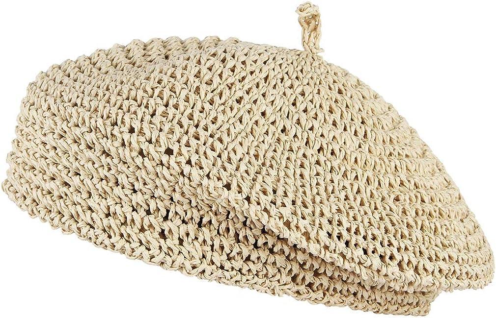 GEMVIE Women Beret Hat Crochet Straw Newsboy Hat Adjustable French Style Fiddler Artist Hat