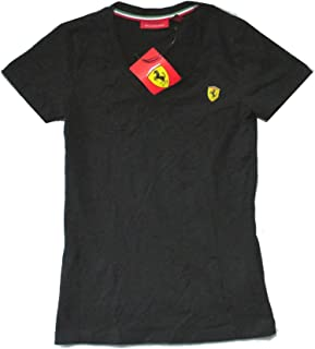 Ferrari Scuderia SF Shield Logo Black Womens V Neck T Shirt
