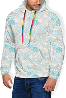 GULTMEE Men's Hoodies Sweatershirt, Pastel Toned Sea Shell Starfish Mollusk Seahorse Coral Reef Motif Design,5 Size