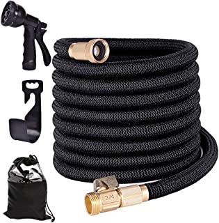 WWahuayuan Flexible and Expandable Garden Hose,Lightweight Water Hose with 8 Way Spray Nozzle,Durable 3-Layer Latex Core,3...