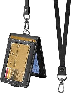 Porte Badge Carte avec Cordon Titulaire de Carte D'identité Porte Badge D'identification en Cuir Verticaux Protection Poch...