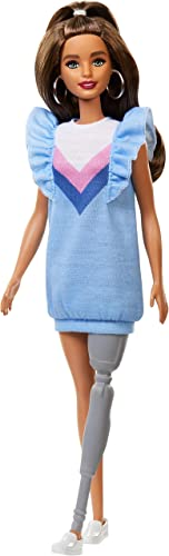 discount Barbie online sale Fashionistas Doll wholesale 121 with Long Brunette Hair and Prosthetic Leg Wearing Sweater Dress and Accessories, for 3 to 8 Year Olds online