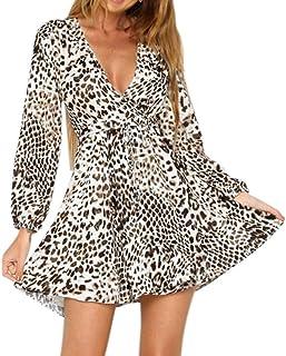 d7c19a705f MeiYao Women Mini Dress V-Neck Long Sleeve Party Leopard Print Wrap Dress