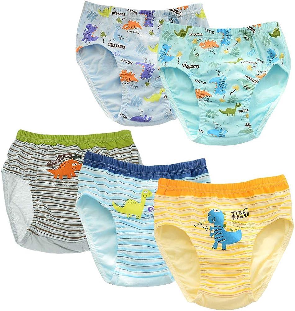 Happy Cherry Baby Boys Soft Cotton Briefs Soft Dinosaur Truck Toddler Underwear 5 Packs