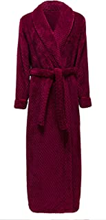 HX fashion Dressing Gown Ladies Long Winter Thick Warm Coral Fleece Comfortable Sizes Sauna Coat Long Sleeve V-Neck Comfor...