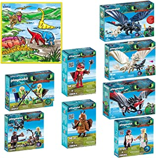 Playmobil Dreamworks III Kids Mega Playset Hiccup, Astrid, Toothless, Light Fury, Baby Dragon, Deathgripper with Grimmel, Ruffnut with Flight Suit With Small Washable Playmat with 12 Markers