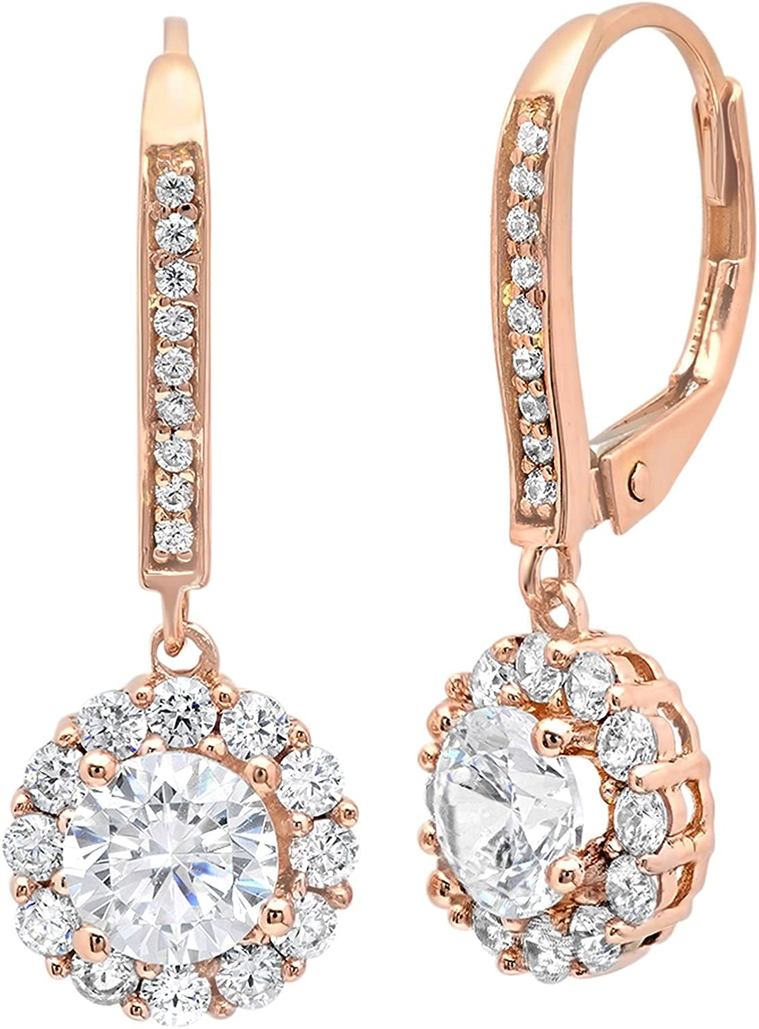 3.55 ct Round Cut ideal VVS1 Conflict Free Gemstone Halo Solitaire Genuine Moissanite Designer Lever back Drop Dangle Earrings Solid 14k rose Gold