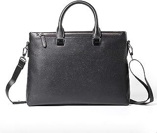 Shoulder Bags Men's Handbag Square Work Bag Business Leather Crossbody Bag Laptop Bag Black Leather Briefcase 8L