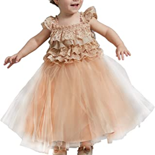 TENTIDE Baby Girl Princess Lace Dresses for Party Bridesmaid Champagne Layered Tulle Ball Gowns Independent Designer 0-18M