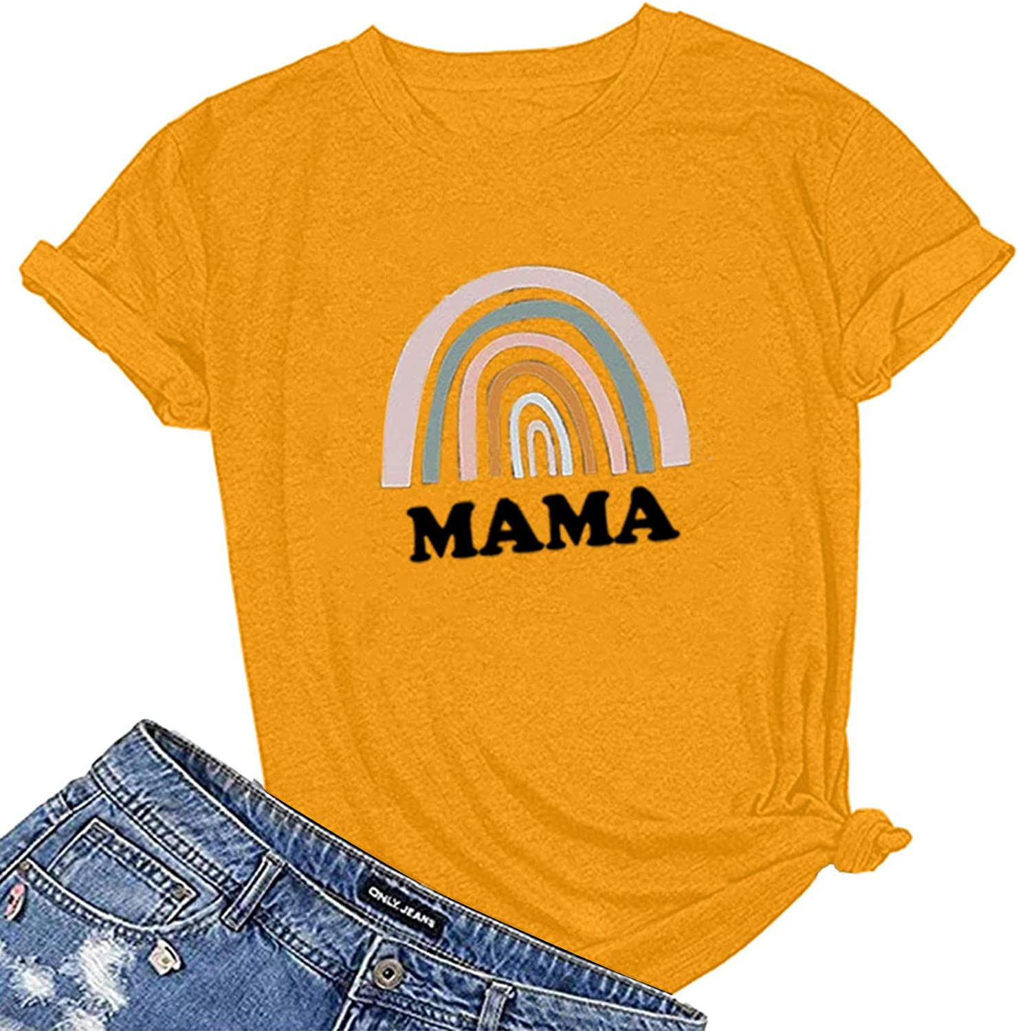 COOKI Selling Womens T Shirts Women's Product Comfy Letter Mama Gra Day Mother's