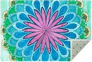 DEYYA Soft Mandala Coloring Examples with Purple Green Bluejpg Non-Slip Area Rugs Large Rug Mat Carpet for Living Room Bedroom Playing Room 5.25' x 4'