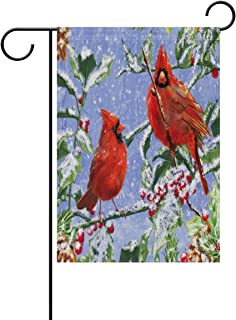 MASSIKOA Winter Cardinal Garden Flag Double-Sized Print Decorative Holiday Home Flag , 12 x 18 inches