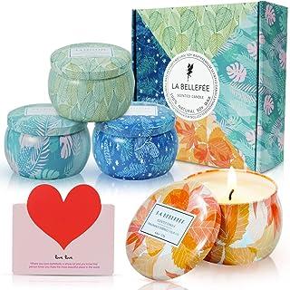 LA BELLEFÉE Coffret Bougies Parfumées Les Quatre Saisons Bougie à la Cire de Soja Naturelle Idée Cadeau pour Anniversaire ...