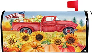 Wamika Autumn Fall Thanksgiving Pumpkin Red Truck Mailbox Cover Magnetic Oversized, Sunflower American Flag Letter Post Box Cover Wrap Decoration Welcome Home Garden Outdoor 25.5