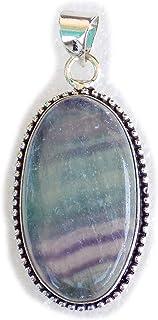 Fluorite Pendant, Silver Plated Brass Pendant, Handmade Pendant, Gift Jewelry, Women Jewellry, Fashion Jewellry, BRS-12464