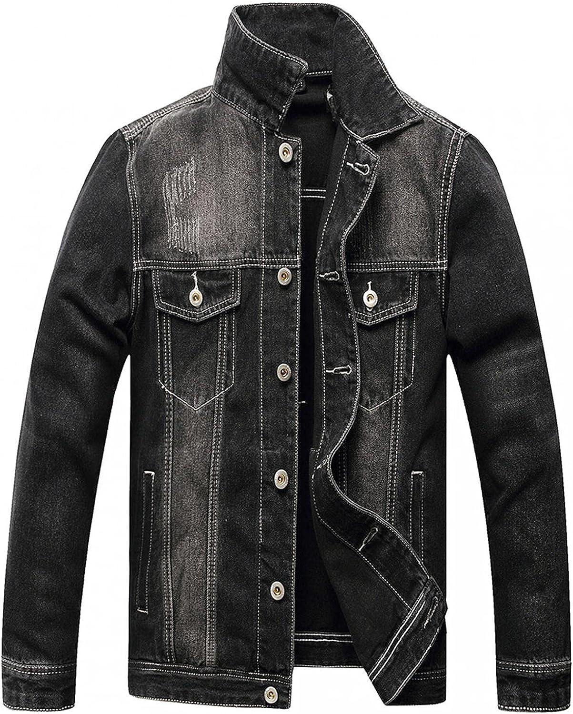 XUNFUN Jean Jacket for Men Classic Ripped Slim Wash Distressed Solid Vintage Long Sleeve Denim Trucker Jacket Coats