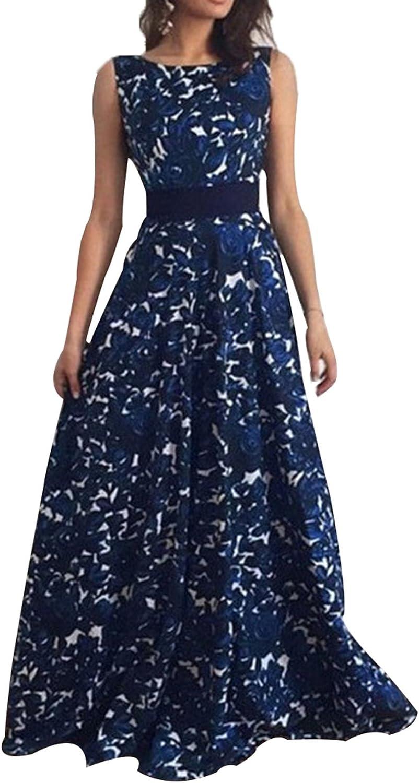 Allfennler Women's Floral Printed Sleeveless Backless Belt Party Maxi Dress