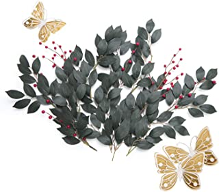 Ling's moment Artificial Berries Foliage Real Touch Faux Greenery Spray, Paper Flower Decoration Accessories, Flower Filler for Bouquet/Wreath/Garland/Wedding Arch, DIY Floral Photo Booth