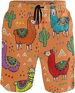 Senwei Cute Animal Alpaca Lama Cactus Swimming Trunks For Men Boy Beach Shorts With Pockets Quick Dry