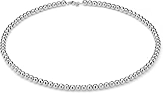 925 Sterling Silver Italian Handmade 6mm Bead Ball Strand Chain Necklace for Women 16, 18, 20 Inch Made in Italy