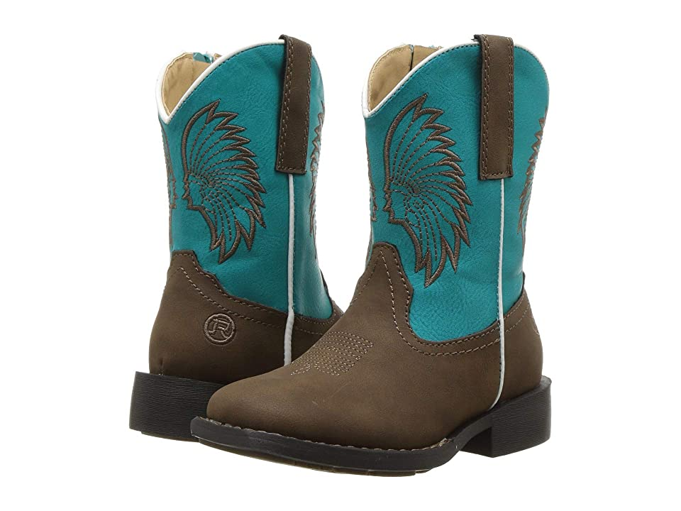 Roper Kids Big Chief (Toddler) (Brown Faux Leather/Turquoise Headdress) Cowboy Boots
