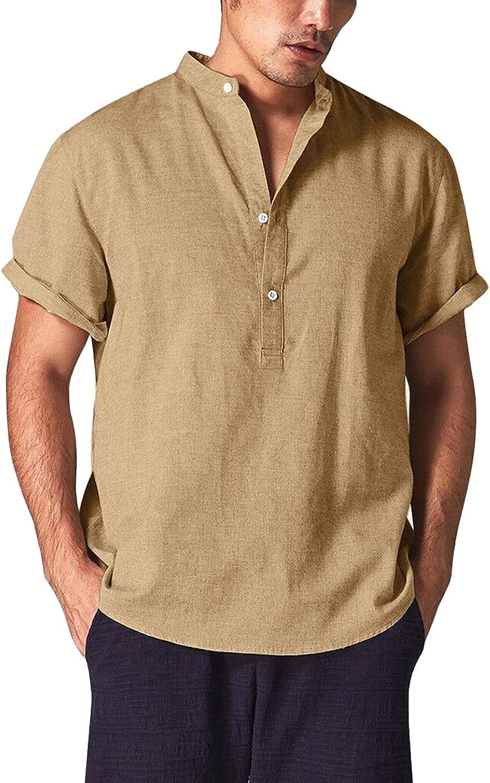 Angbater Men's Casual Linen Shirts Casual Henley Shirt Short Sleeve Beach Yoga Tee Summer