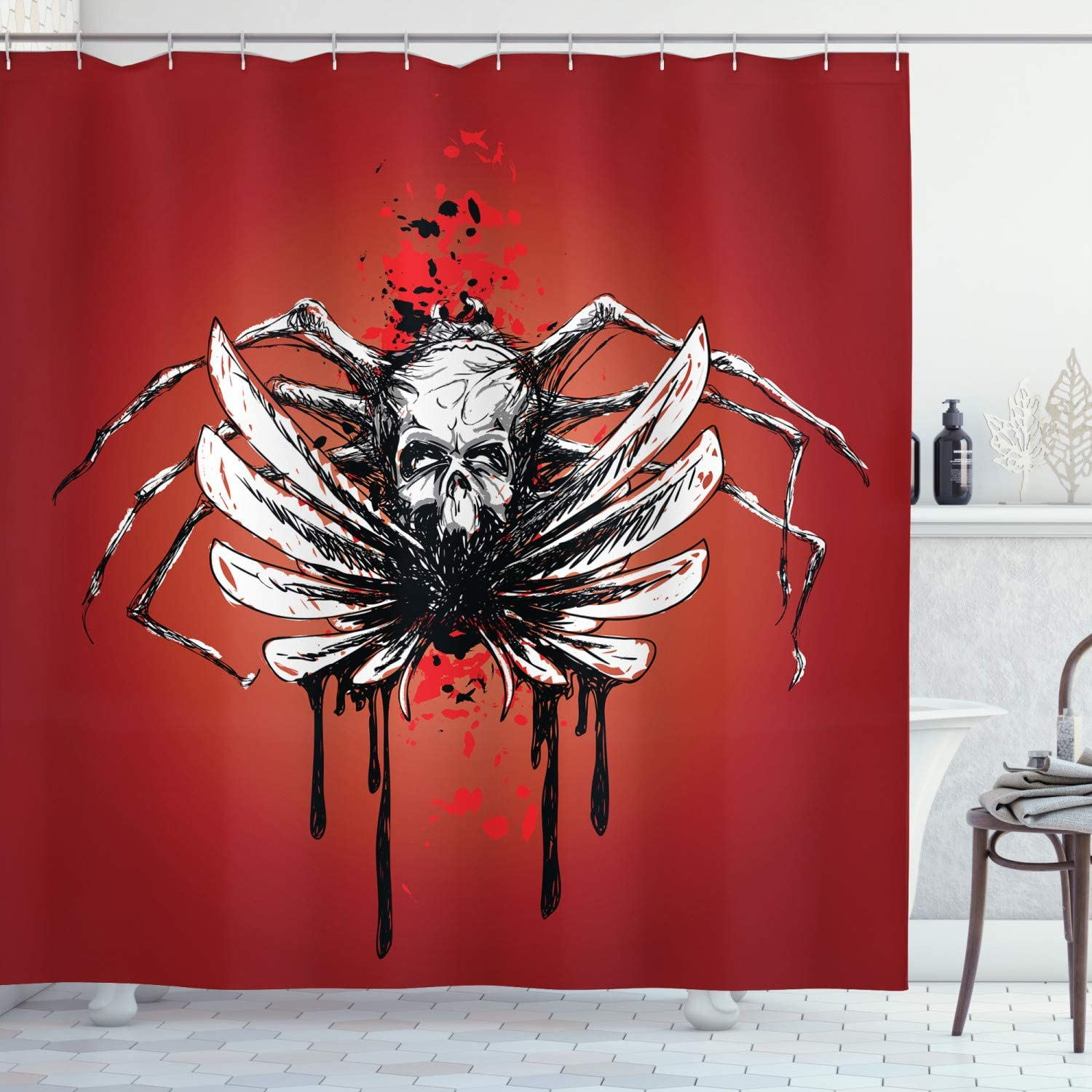 Ambesonne Gothic Ranking TOP8 Shower Curtain Dead and Skull with Blood OFFicial shop Wings