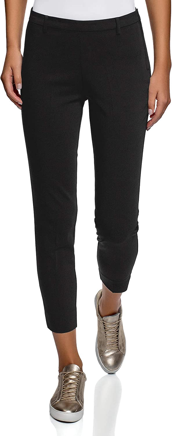 oodji Collection Women's Slim-Fit Trousers with Side Zipper
