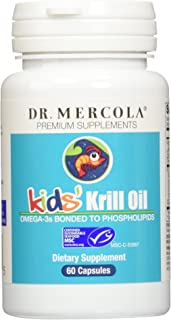 Dr. Mercola, Krill Oil for Kids, 30 Servings (60 Capsules), Source of Omega 3 Fatty Acids, MSC Certified, Non GMO, Soy Free, Gluten Free