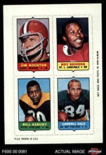 1969 Topps 4-in-1 Football Stamps Jim Houston/Roy Shivers/Bill Asbury/Carroll Dale (Football Card) Dean's Cards 7 - NM