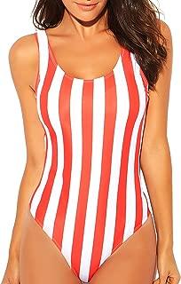 Women's Sexy Colorful Stripe One Piece Swimsuit High Cut Backless Beach Swimwear Bathing Suit