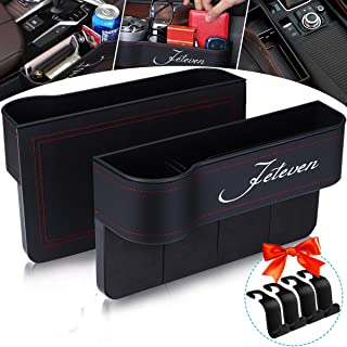 Jeteven Car Seat Filler, 2 Packs PU Leather Car Organizer, Multifunctional Car Seat Organizer with Cup Holder, Console Sid...